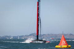 Louis Vuitton Cup race team Luna Rossa AC 72 Catamaran sailboat Royalty Free Stock Photography