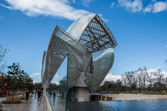 Louis Vuitton Foundation. The building of the Louis Vuitton Foundation started in 2006, is an art museum and cultural center the $143 million museum has recently Stock Image