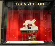 Louis Vuitton Holidays window display at Sacks Fifth Avenue luxury department store in Manhattan Royalty Free Stock Photography