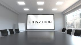 Louis Vuitton logo on the screen in a meeting room. Editorial 3D rendering. Louis Vuitton logo on the screen in a meeting room. Editorial 3D Royalty Free Stock Photography
