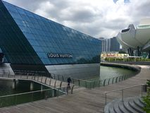 Louis Vuitton Mansion and Science Art Museum at Marina Bay Sands Stock Photo