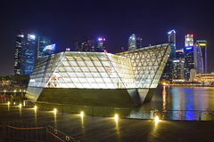 Louis Vuitton shop housed in a spectacular Crystal Pavilion floating on the waters of Marina Bay Stock Photos