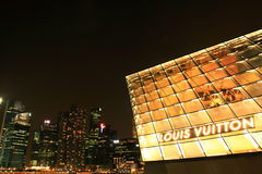 Louis vuitton shop at marina bay sands in night. LV shop at marina bay sands in night Royalty Free Stock Image