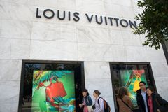 Louis Vuitton store. Windows in San Francisco Stock Image