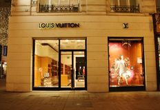 Louis Vuitton store. In Vienna, Austria at night Royalty Free Stock Photos