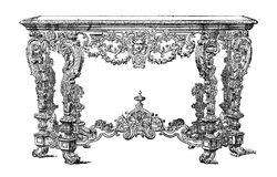 Louis XIV console,  baroque furniture XVII century Royalty Free Stock Images