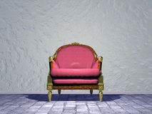 Louis XVI royal chair in the street - 3D render. Single Louis XVI royal chair in grey the street Royalty Free Stock Image