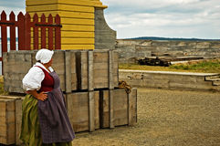 Louisbourg Lady. A lady from louisbourg waiting for the boat to arrive stock photography