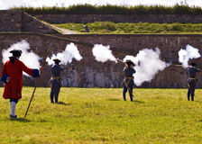 Louisbourg Soldiers. Fighting a battle royalty free stock images