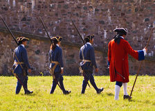 Louisbourg Soldiers. Preparing to fight a battle royalty free stock photography