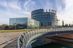The European Parliament, Strasbourg. The Louise Weiss building, seat of the European Parliament located in Strasbourg, France Stock Photography