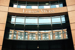 Louise Weiss name on European Parliament entrance stock photo