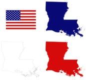 Louisiana översikt med USA flaggan - tillstånd i den sydöstliga regionen av Förenta staterna Arkivbilder