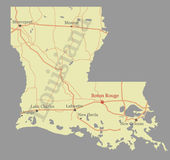 Louisiana accurate vector exact detailed State Map with Community Assistance and Activates Icons Original pastel Illustration. Un. Ited States of America stock illustration