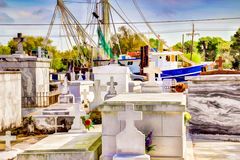 Louisiana Bayou Cemetery. A cemetery scene from Bayou Lafourche in South Louisiana Stock Images