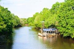 Louisiana Bayou. A natural bayou located at Lafayette, Louisiana stock photo