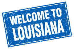 Louisiana blue square  welcome to stamp Stock Photography