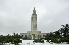 Louisiana Capitol in Snow. Photo of the Louisiana State Capitol building after a freak December snow storm on Dec. 11, 2008 Royalty Free Stock Photo