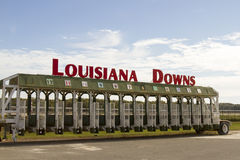 Louisiana Downs Entrance sign on starting gate Stock Photos