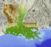 Louisiana, Entlastungskarte Lizenzfreies Stockbild