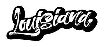 louisiana etikett Modern kalligrafihandbokstäver för serigrafitryck Royaltyfri Fotografi
