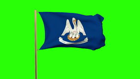 Louisiana flag waving in the wind. Green screen. Alpha matte. Loops animation stock video