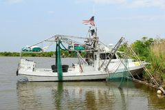 Louisiana-Garnelen-Boot stockbilder