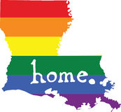 Louisiana gay pride vector state sign. LGBT community pride vector U.S. state decal: easy-edit layered vector EPS10 file scalable to any size without quality royalty free illustration