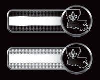 Louisiana-Ikone auf gestreiften Fahnen Stockbild