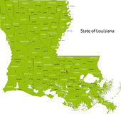 Louisiana map. Green map of the state of Louisiana with counties and county seats Stock Photos