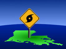 Louisiana map hurricane sign Royalty Free Stock Image