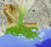 Louisiana, mapa de relevo Ilustração do Vetor