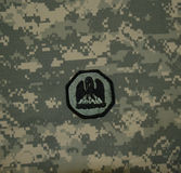 Louisiana National Guard Patch on ACU. United States Army Louisiana National Guard Rank on an ACU background royalty free stock images