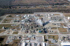Louisiana oil refinery aerial view. Royalty Free Stock Photography