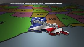 Louisiana pull out from USA states abbreviations map. State Louisiana pull out from USA map with american flag on background. A map of the US showing the two stock video footage