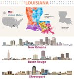 Louisiana`s Congressional distrcits vector map with major cities skylines. Set Stock Images