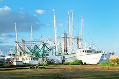 Louisiana Shrimp Boat. A shrimp boat used in commercial fishing on a bayou in South Louisiana stock photo