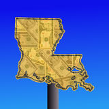 Louisiana sign with cash Stock Photography