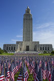 Louisiana State Capitol with American Flags Stock Photo