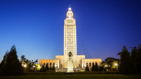 Louisiana State Capitol Building in Baton Rouge at Night. Louisiana State Capitol Building against clear sky at night in Baton Rouge royalty free stock photography