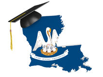 Louisiana state college and university education concept, 3D rendering. Louisiana education concept of a 3D state map icon and a university graduate mortarboard Royalty Free Stock Photo