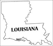 Louisiana State and Date. A Louisiana state outline with the date of statehood isolated on a white background Stock Image