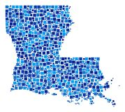 Louisiana State Map Mosaic of Pixels. Louisiana State map collage of random square elements in variable sizes and blue color hues. Vector dots are composed into Stock Images