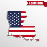 Louisiana State map with US flag inside and ribbon Stock Photos