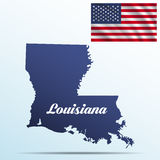 Louisiana state with shadow with USA waving flag Stock Images