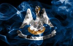 Louisiana state smoke flag, United States Of America. On a black background stock photo