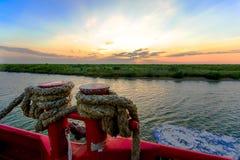 Louisiana Sunset. A beautiful vivid sunset on a Louisiana bayou stock images