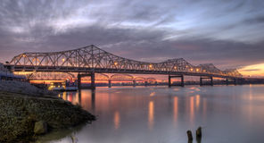 Louisville Bridges. Crossing the Ohio River at sunrise Royalty Free Stock Photography