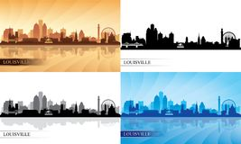 Louisville city skyline silhouettes set Royalty Free Stock Photo