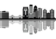 Louisville detail skyline with bridge Royalty Free Stock Image